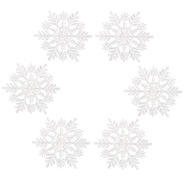 """Ozdoba choinkowa """"Brokatowa śnieżynka wz.1"""", Arpex, 10 cm, 6 szt"""