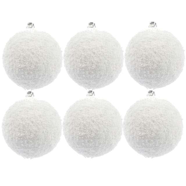 """Bombki """"Ośnieżone"""", białe, Arpex, 6 cm, 6 szt"""