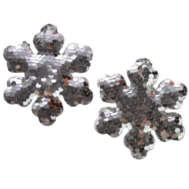 Ozdoby choinkowe Cekinowe śnieżynki srebrne Arpex 10 cm 2 szt
