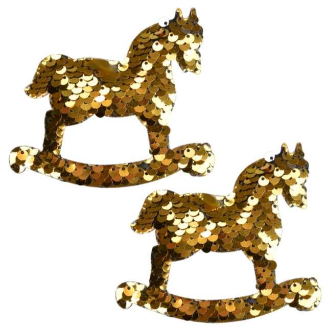 """Ozdoby choinkowe """"Cekinowe koniki"""", złote, Arpex, 9,5 cm, 2 szt"""