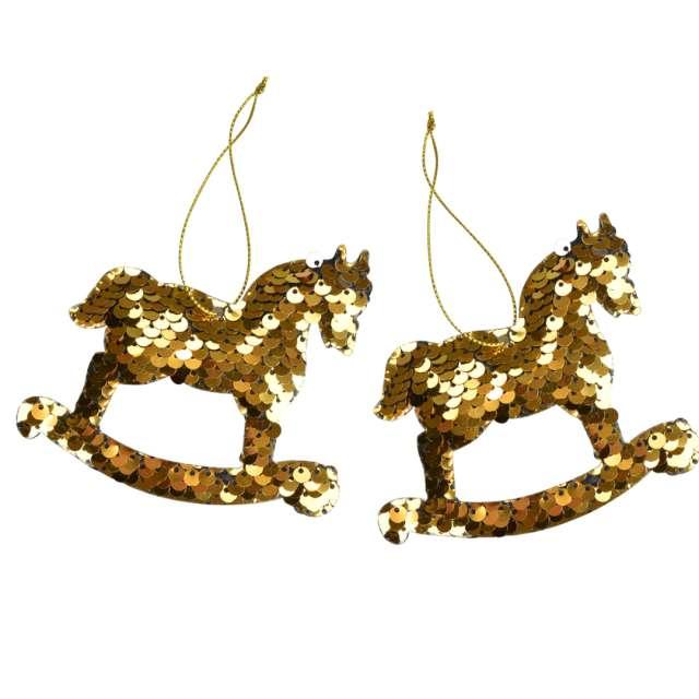Ozdoby choinkowe Cekinowe koniki złote Arpex 95 cm 2 szt