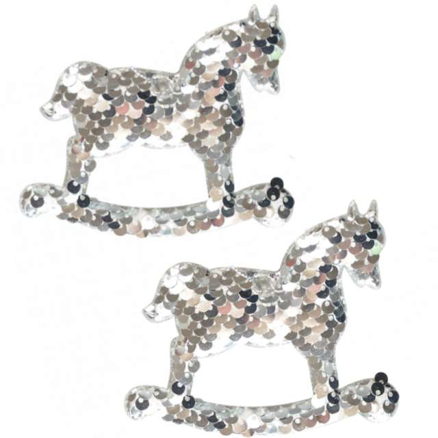 """Ozdoby choinkowe """"Cekinowe koniki"""", srebrne, Arpex, 9,5 cm, 2 szt"""