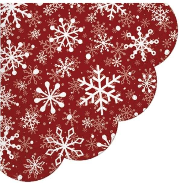 Serwetki rondo Śnieżynki - Boże Narodzenie Paw 32 cm 12 szt