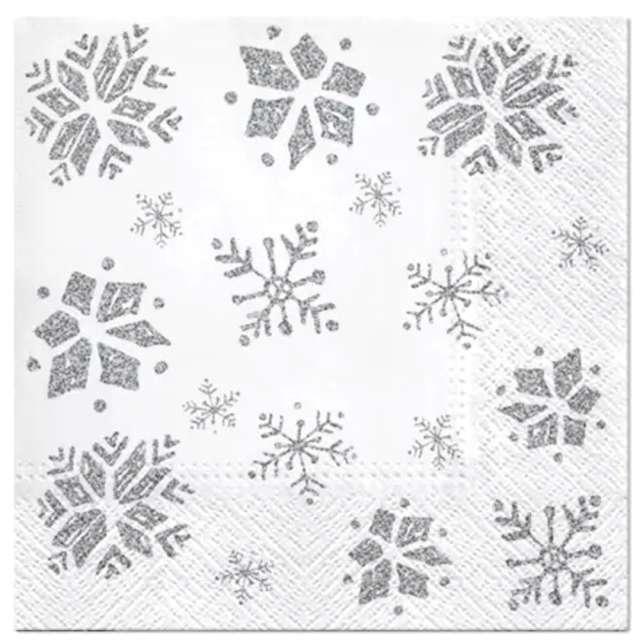 _xx_Serwetki Glitter Snowflakes silver