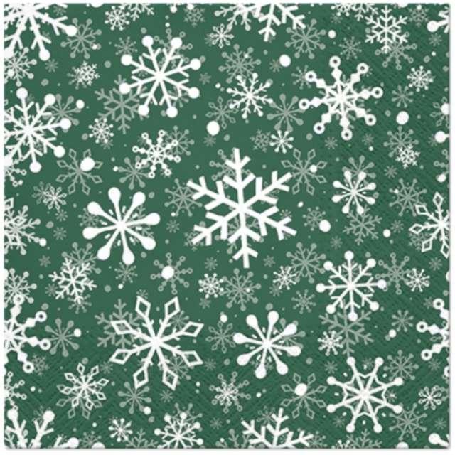"""Serwetki """"Śnieżynki - Boże Narodzenie"""", zielone, Paw, 33 cm, 20 szt"""