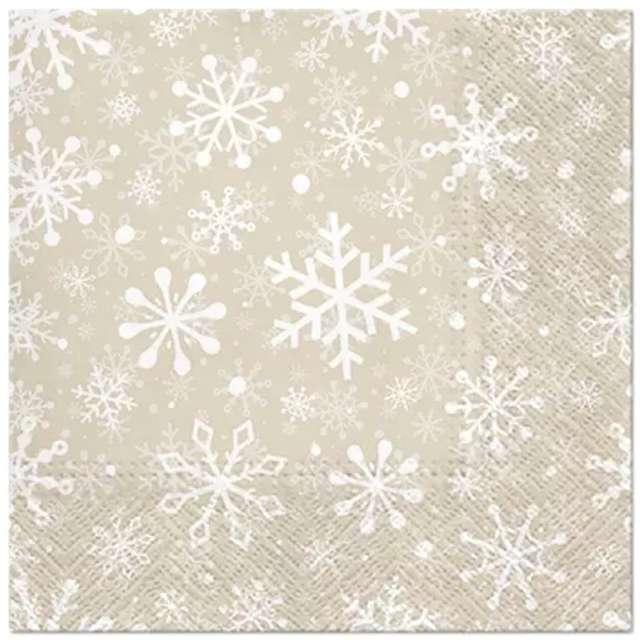 """Serwetki """"Śnieżynki - Boże Narodzenie"""", beżowe, Paw, 33 cm, 20 szt"""