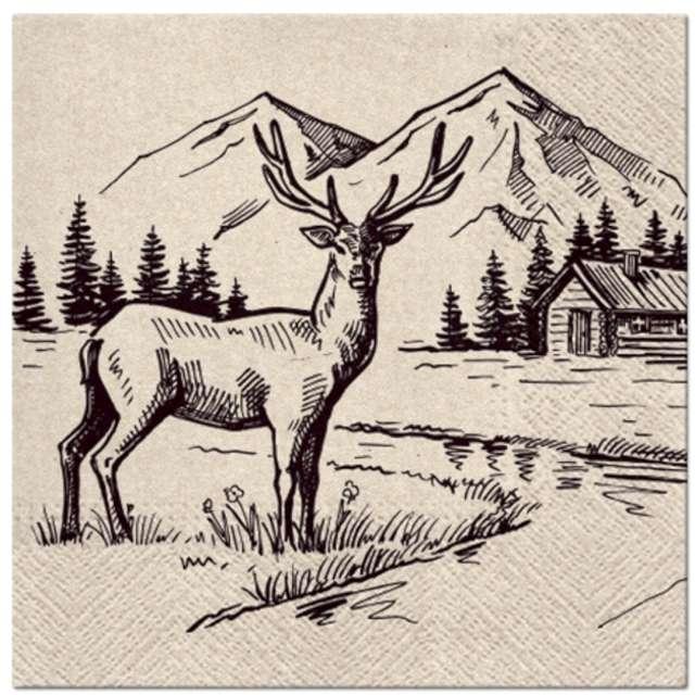 Serwetki We Care - Renifer na tle gór Paw 33 cm 20 szt