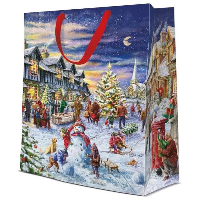 """Torebka prezentowa """"Bałwan - Boże Narodzenie"""", kolorowa,  Paw, 30x40x12 cm"""