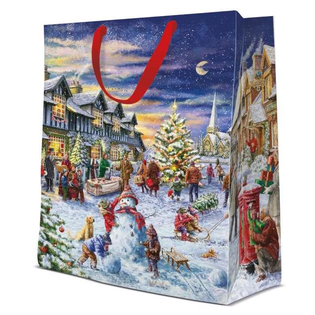 """Torebka prezentowa """"Bałwan - Boże Narodzenie"""", kolorowa,  Paw, 33,5x26,5x13 cm"""