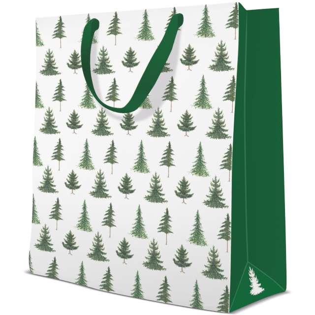 """Torebka prezentowa """"Choinki - Boże Narodzenie"""", zielona,  Paw, 33,5x26,5x13 cm"""
