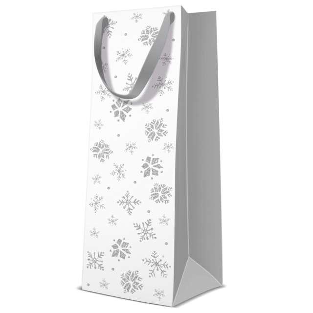 """Torebka prezentowa """"Zimowy klimat - śnieżynki"""", biała, Paw, 37x12x10 cm"""