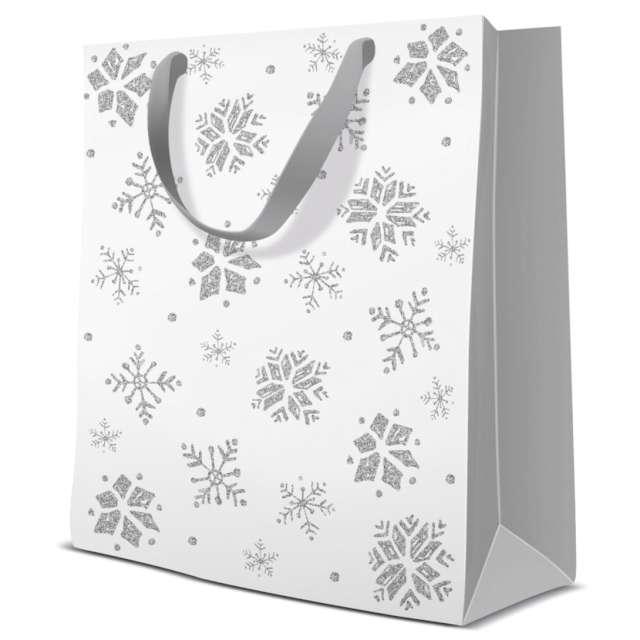 """Torebka prezentowa """"Zimowy klimat - śnieżynki"""", biała,  Paw, 17x17x6 cm"""