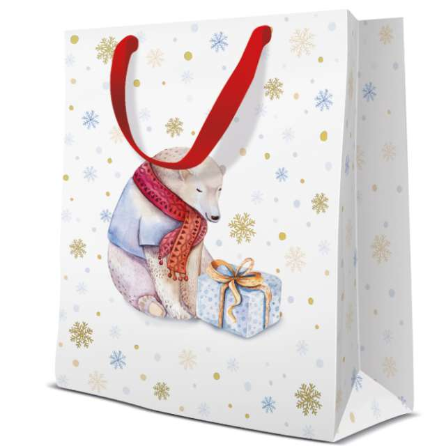 """Torebka prezentowa """"Miś Teddy - śnieżynki"""", biała,  Paw, 20x25x10 cm"""