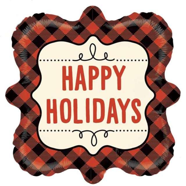"""Balon foliowy """"Buffalo - Happy Holidays"""", Betallic, 18"""", SHP"""