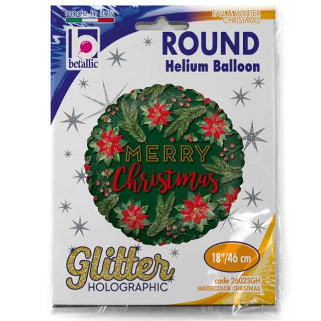 Balon foliowy Merry Christmas ZIELONY Betallic 18 RND