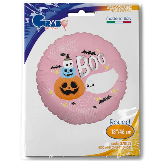 Balon foliowy BOO - duch i dynia Grabo 18 RND