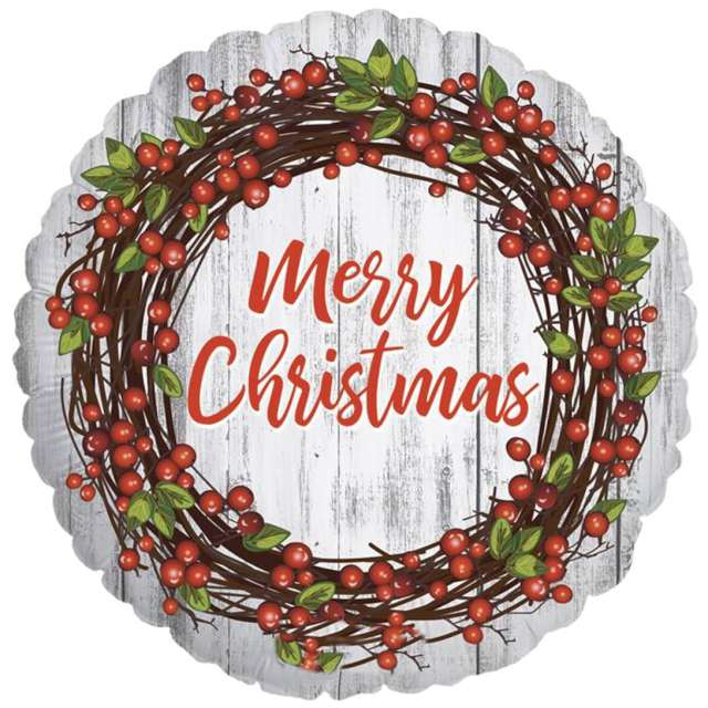 "Balon foliowy ""Merry Christmas"", rustykalny, Betallic, 18"", RND"