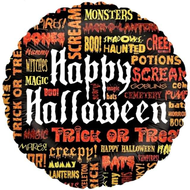 "Balon foliowy ""Happy Halloween - napisy mix"", Betallic, 18"", RND"