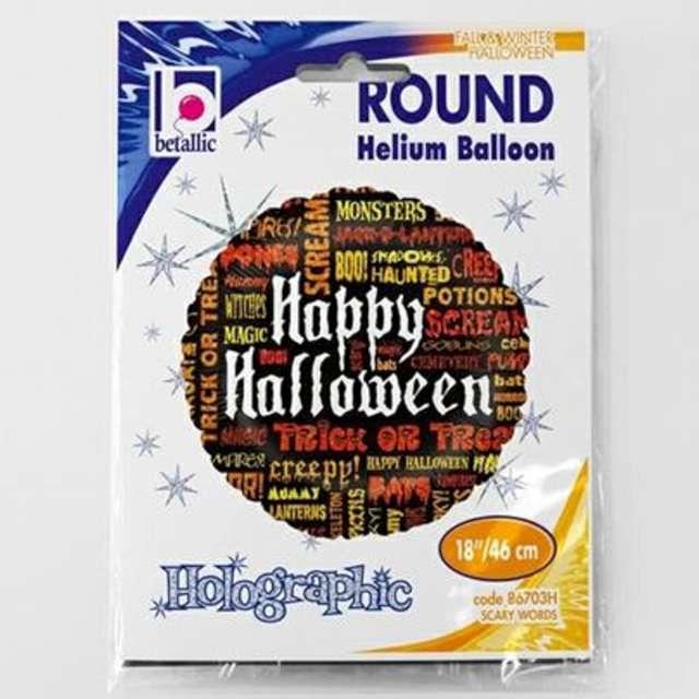 Balon foliowy Happy Halloween - napisy mix Betallic 18 RND
