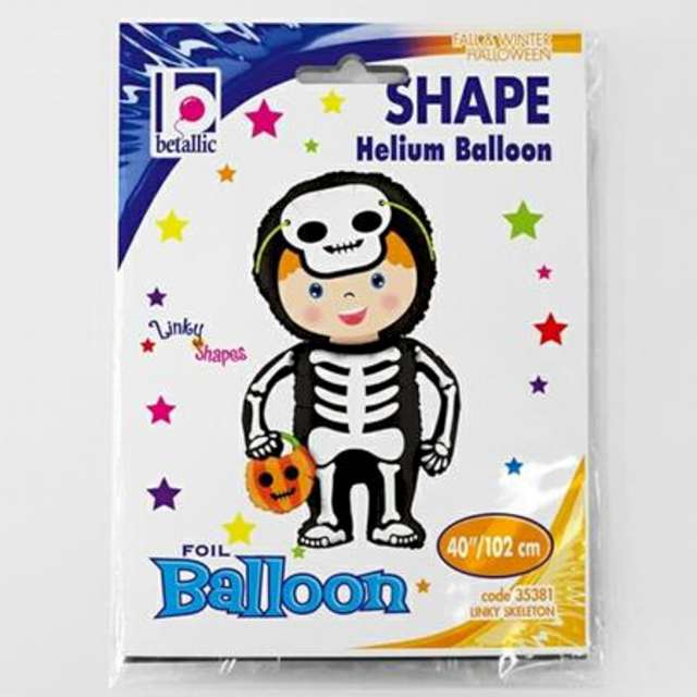 Balon foliowy Chłopiec w stroju szkieletora Betallic 40 SHP