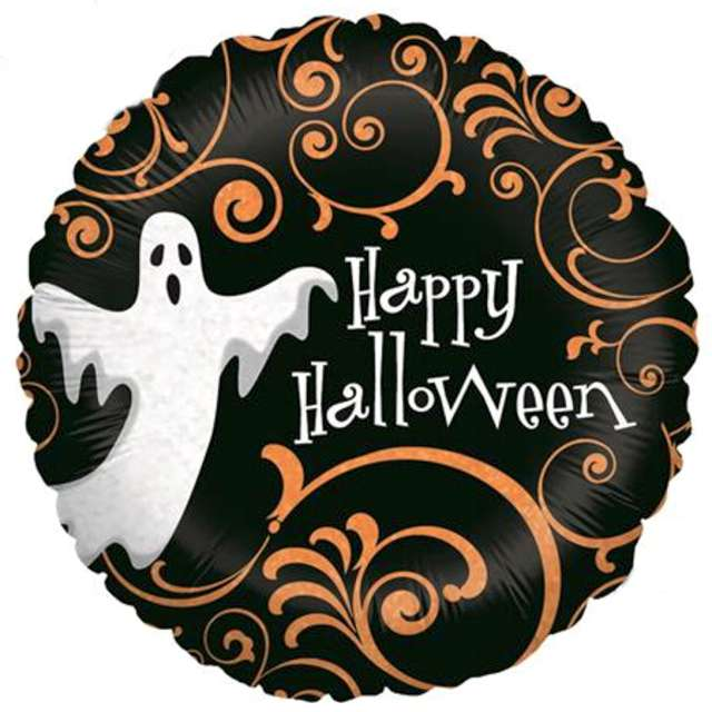 Balon foliowy Happy Halloween z duszkiem Grabo 9 RND