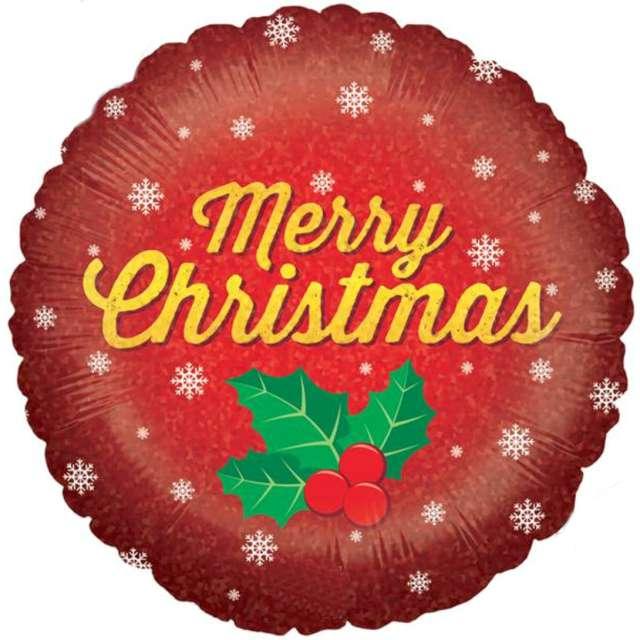 Balon foliowy Merry Christmas - holo czerwony Betallic 18 RND