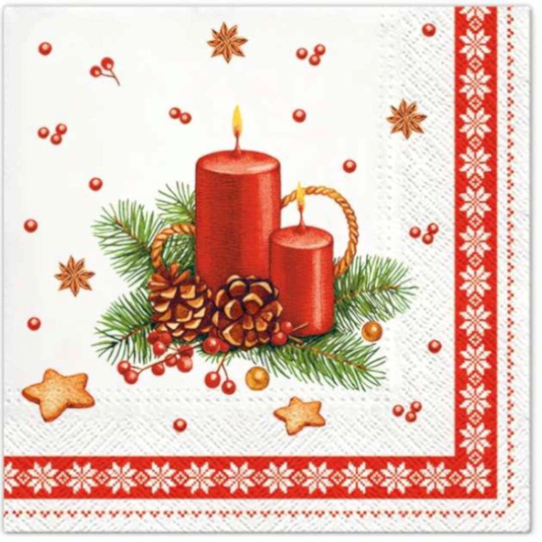 Serwetki Boże Narodzenie - Świece i szyszki czerwone Paw 33 cm 20 szt