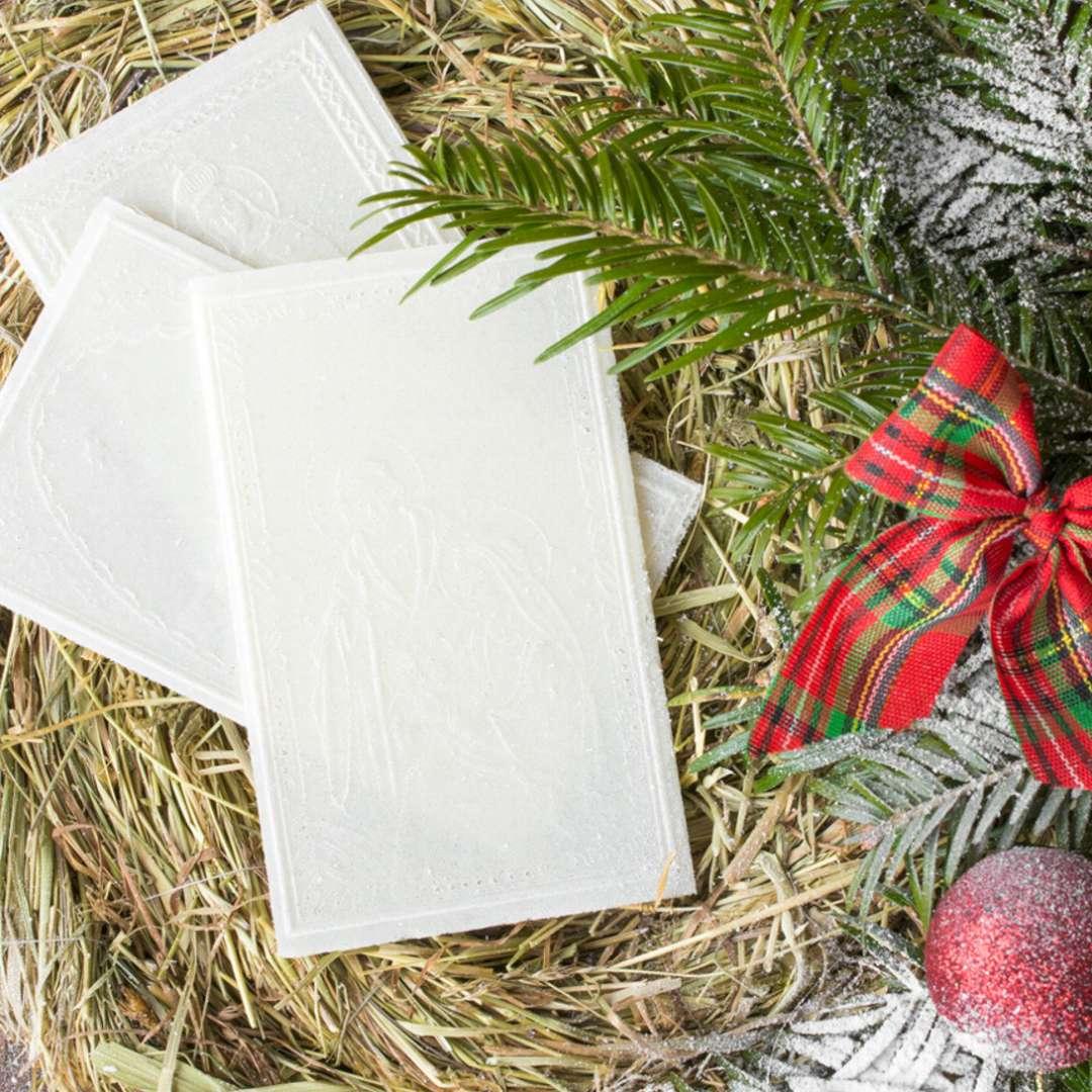 Opłatek wigilijny Zestaw z siankiem Premium biały Oblatum 90x165mm 1 opak.