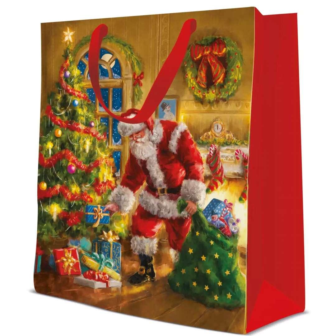Torebka prezentowa Św. Mikołaj - Boże Narodzenie kolorowa  Paw 335x265x13 cm
