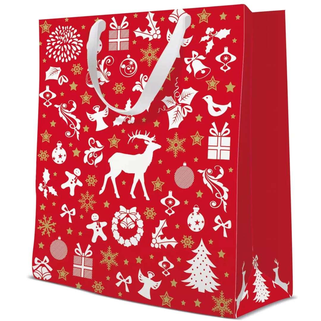 """Torebka prezentowa """"Świąteczny klimat - renifer, śnieżki"""", czerwona,  Paw, 17x17x6 cm"""