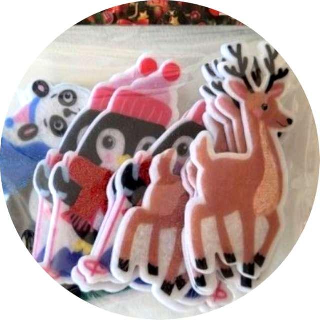 _xx_naklejki filcowe świąteczne zwierzęta x12