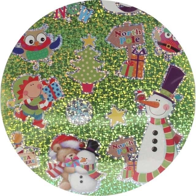 _xx_Naklejki na folii zielone holo świąteczne