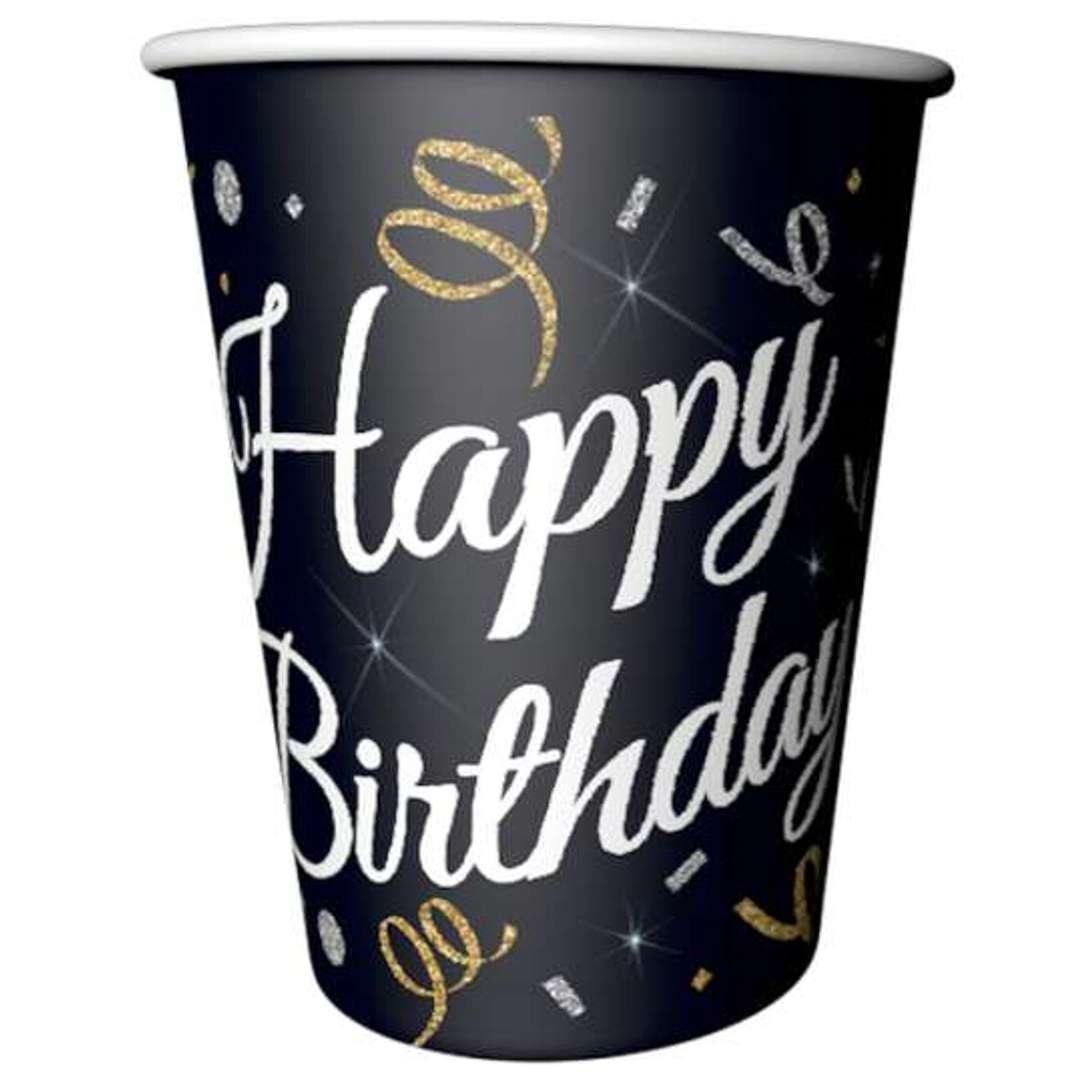 """Kubeczki papierowe """"Beauty & Charm Happy Birthday"""", czarne, Godan, 200 ml, 6 szt"""
