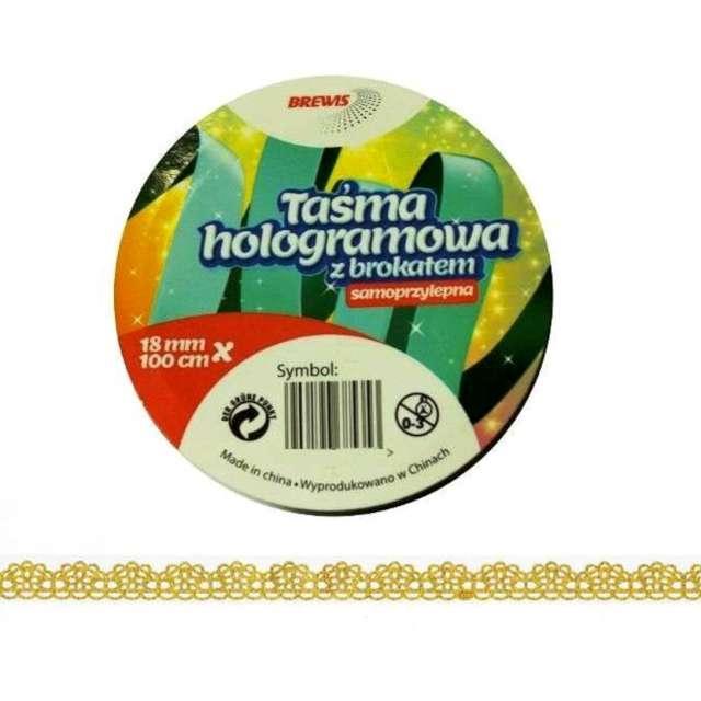_xx_Taśma hologram.brokat.samprzyl.18mm 1m ZŁOTA