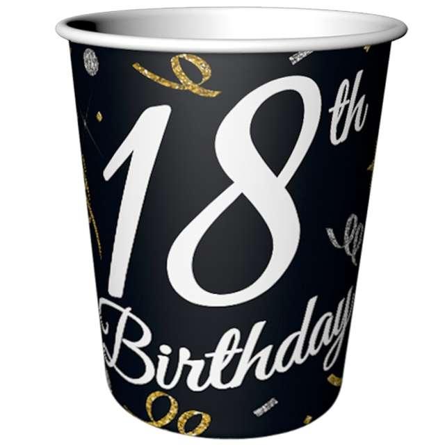 """Kubeczki papierowe """"Beauty & Charm 18-te urodziny"""", czarne, Godan, 200 ml, 6 szt"""