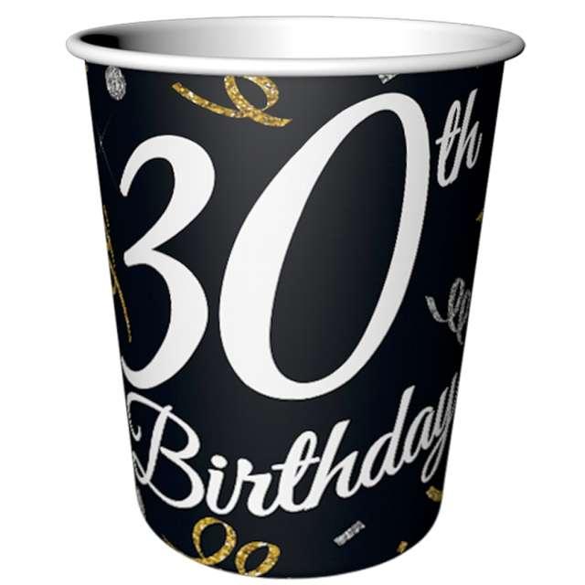 """Kubeczki papierowe """"Beauty & Charm 30-te urodziny"""", czarne, Godan, 200 ml, 6 szt"""