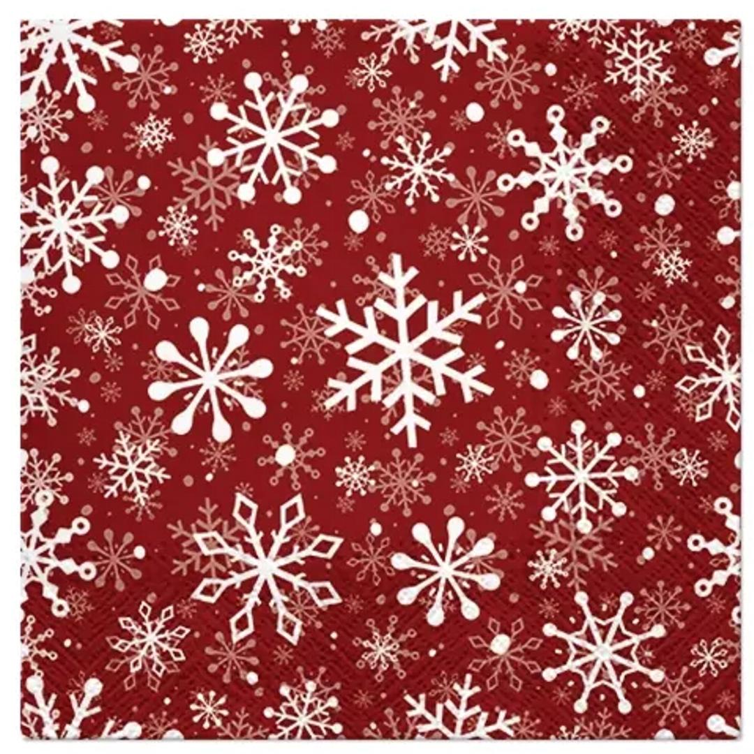 """Serwetki """"Śnieżynki - Boże Narodzenie"""", czerwone, Paw, 33 cm, 20 szt"""