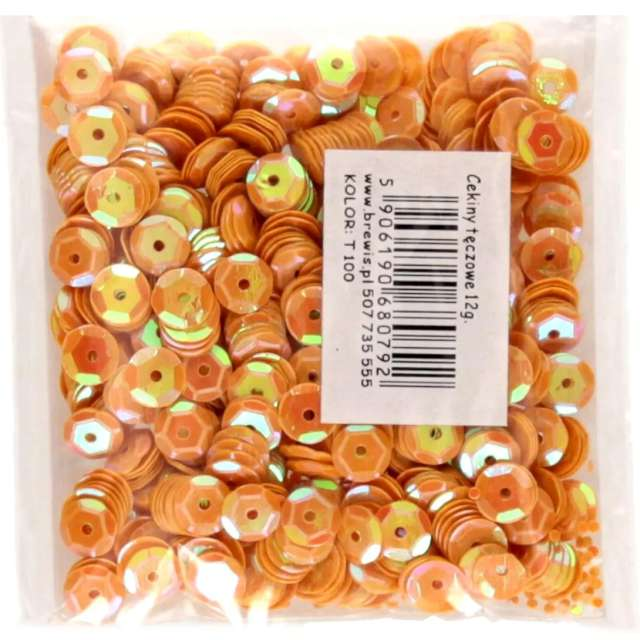 _xx_Cekiny tęczowe 6mm  pomarańczowy