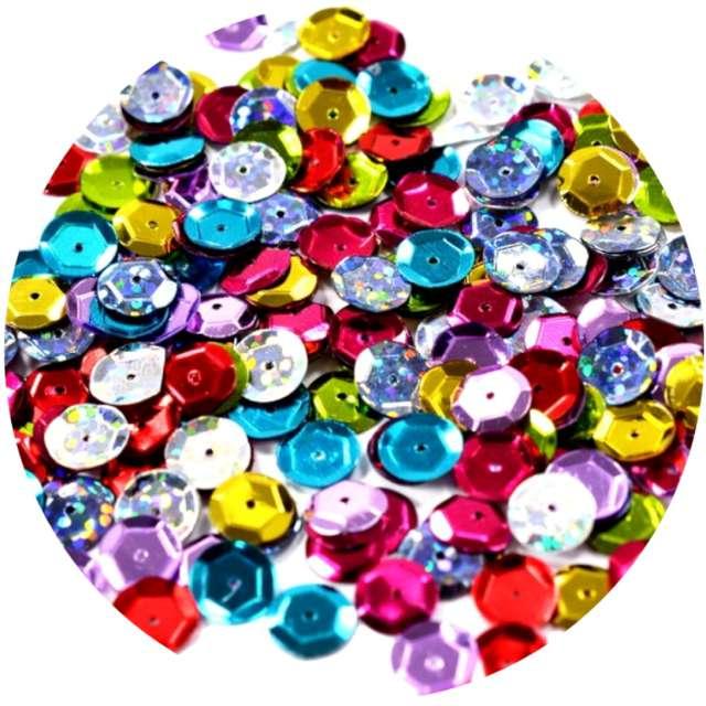 _xx_Cekiny hologramowe 6mm mix kolorów