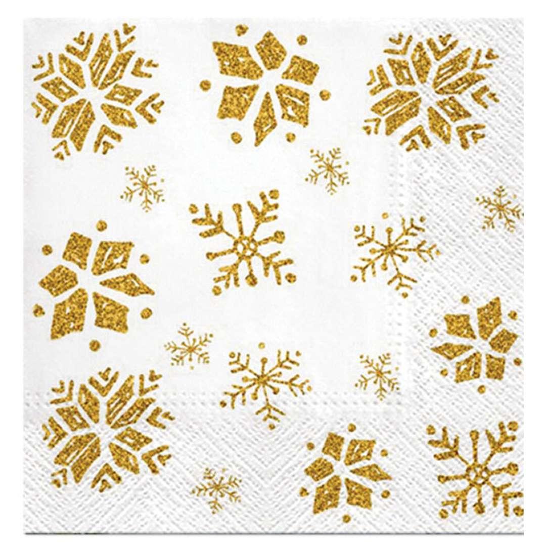 _xx_Serwetki Glitter Snowflakes gold