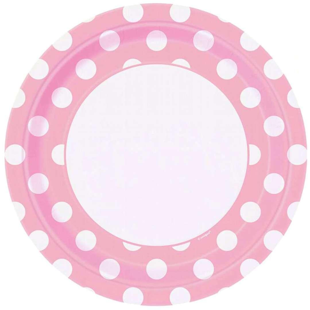 """Talerzyki papierowe """"Baby Shower - grochy"""", różowe, UNIQUE, 23 cm, 8 szt"""