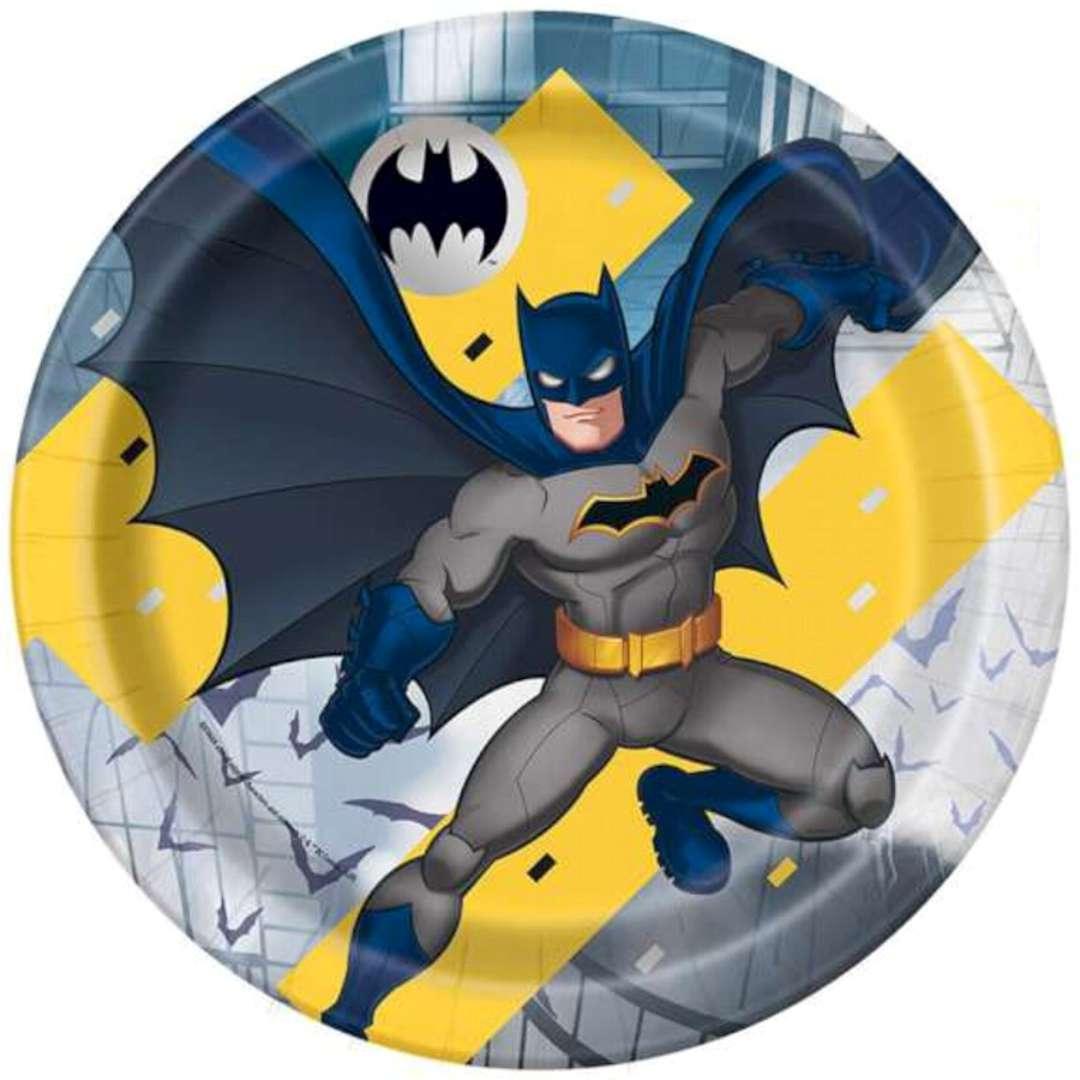 """Talerzyki papierowe """"Batman"""", UNIQUE, 23 cm, 8 szt"""