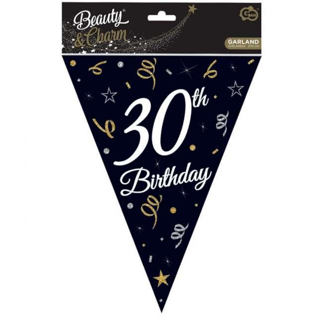 Baner flagi 30 urodziny czarny Godan 270 cm