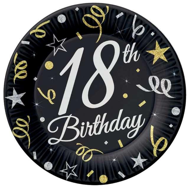 """Talerzyki papierowe """"Beauty & Charm 18-te urodziny"""", czarne, Godan, 18 cm, 8 szt"""