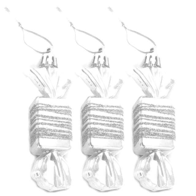 Bombki Cukierki z brokatem białe Arpex 9 cm 3 szt