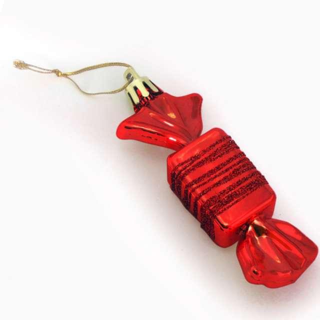 Bombki Cukierki z brokatem czerwone Arpex 9 cm 3 szt