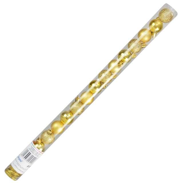 """Bombki """"Zestaw Mix w tubie"""", złote, Arpex, 3 cm, 16 szt"""