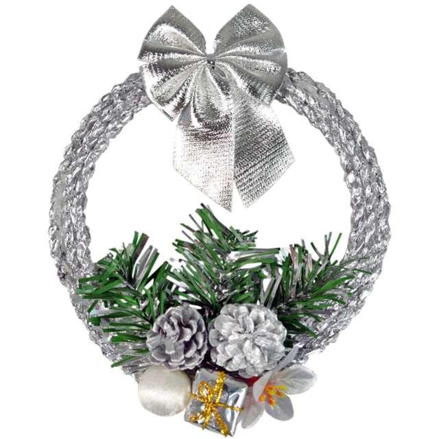 Dekoracja Świąteczny wieniec srebrny Arpex 16 cm