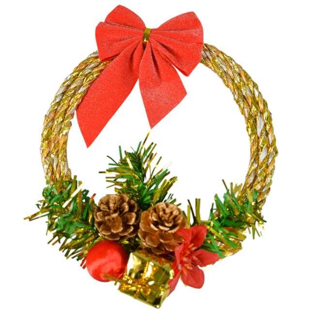 """Dekoracja """"Świąteczny wieniec"""", złoty, Arpex, 16 cm"""