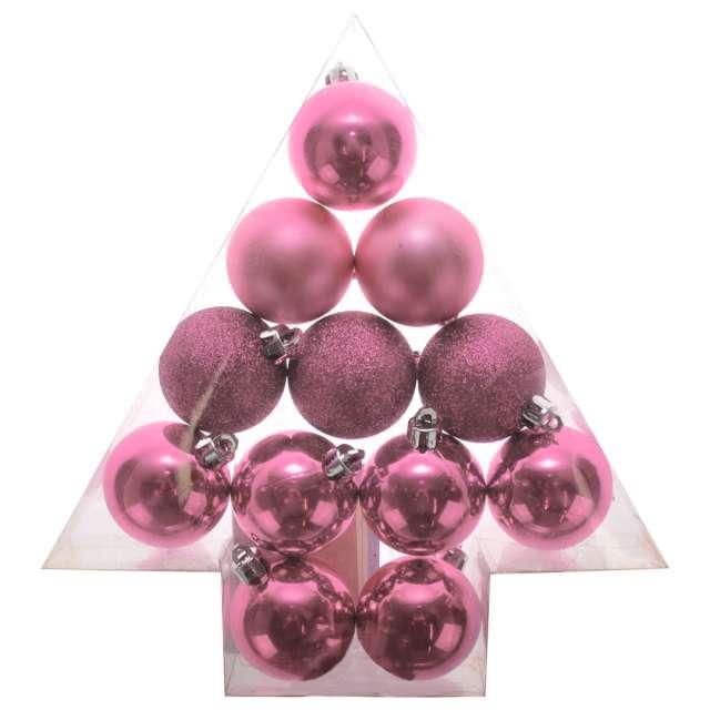 "Bombki ""Zestaw Mix"", różowe, Arpex, 3,5 cm, 12 szt"